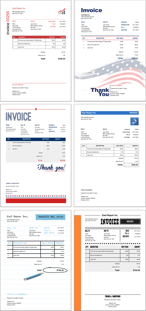 Invoice Template Styles