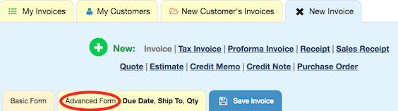 Advanced Invoice Tab