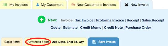 Advanced Invoice Tab