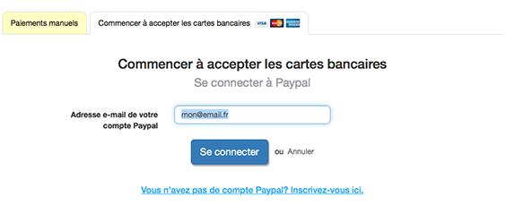 Se connecter à Paypal