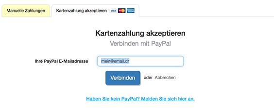 Verbinden mit PayPal