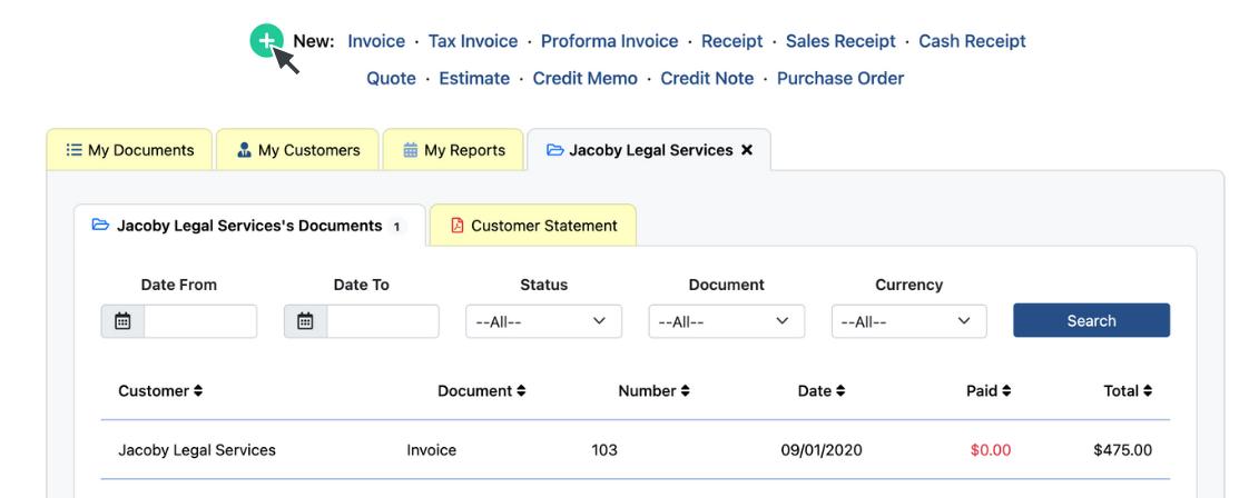 Customer's Invoices List