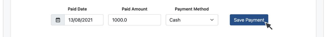 Click Save Payment