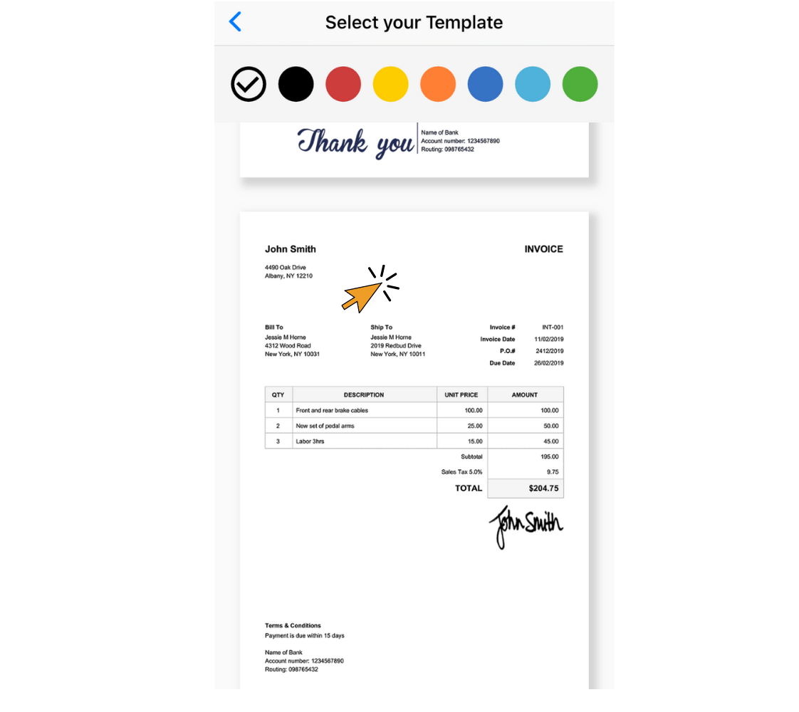 tap an invoice template