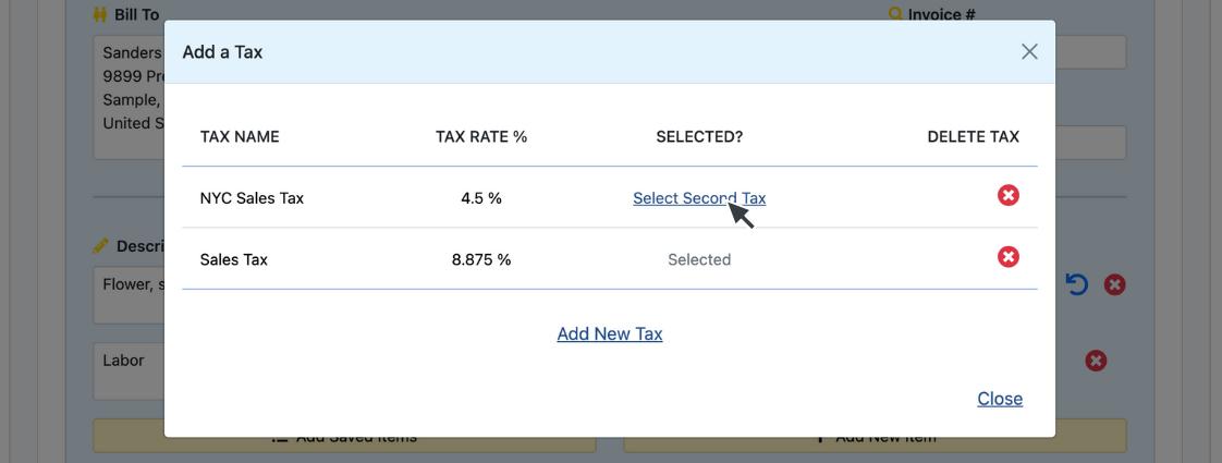 Tax Button